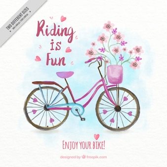 Hand painted floral vintage bicycle background with phrase
