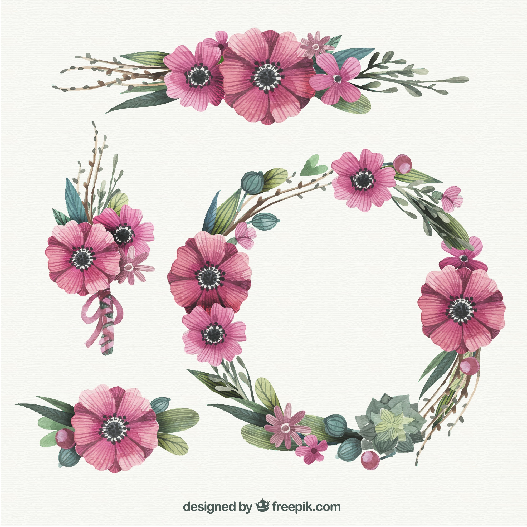 Hand painted floral wreath