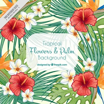 Hand painted flowers and palm leaves summer background