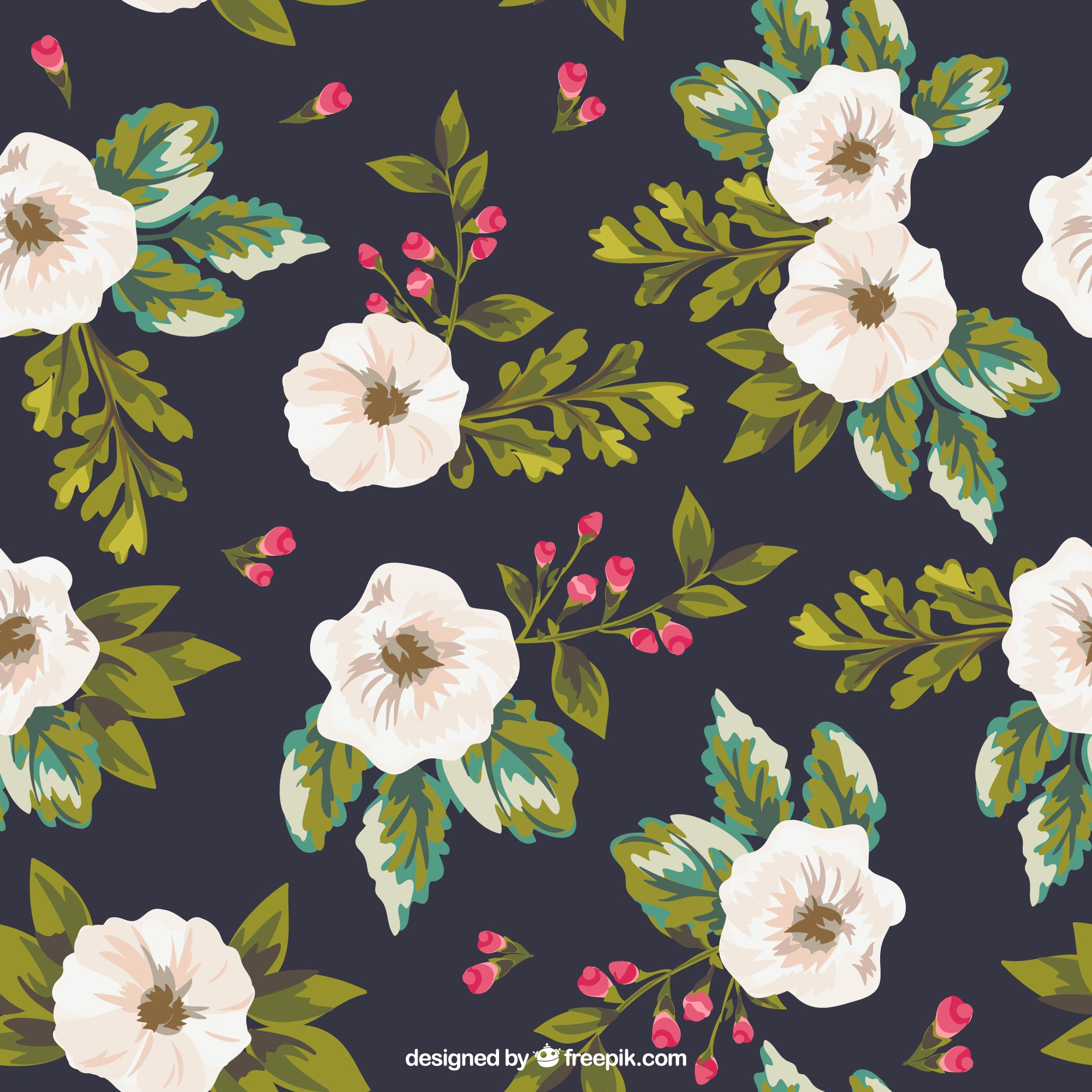 Hand painted flowers background