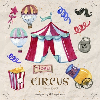 Hand painted funny circus elements
