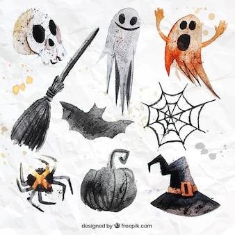 Hand painted halloween elements