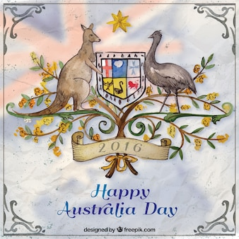 Hand painted Happy Australia Day background