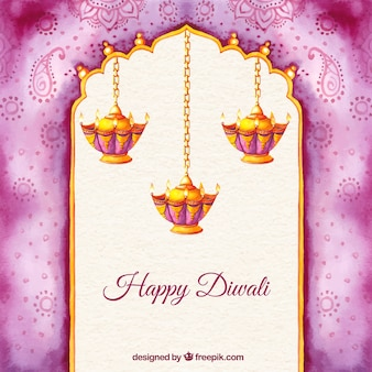 Hand painted happy Diwali background