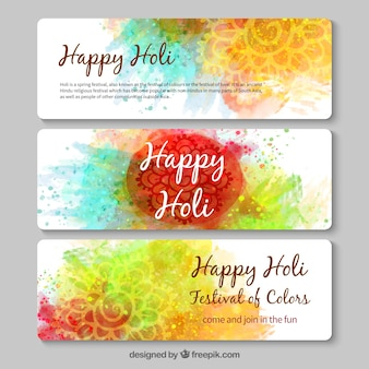 Hand painted Happy Holi banners