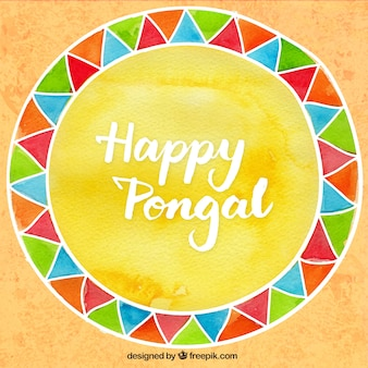 Hand painted happy Pongal background