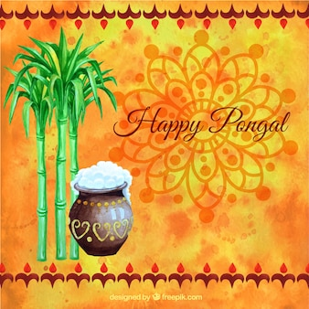 Hand painted Happy Pongal on orange background