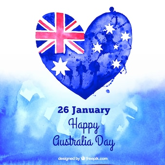 Hand painted heart of Australia day background