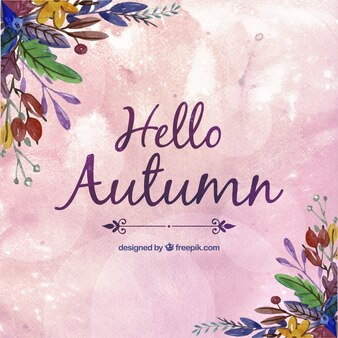 Hand painted hello autumn background