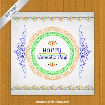 Hand painted india republic day  greeting card