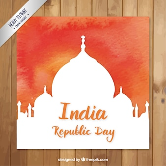 Hand painted indian republic day card