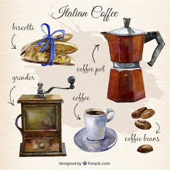 Hand painted italian coffee elements