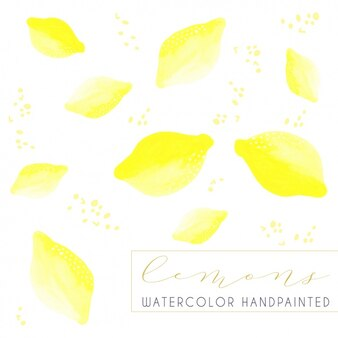 Hand painted lemons background