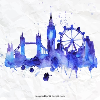 Hand painted London skyline