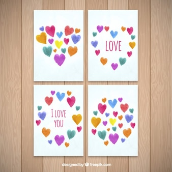 Hand painted love cards with colored hearts