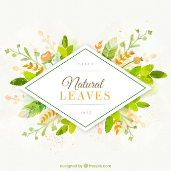 Hand painted natural leaves background