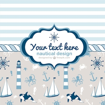hand painted nautical cards    vector