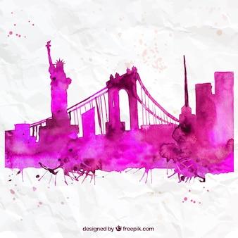 Hand painted New York skyline