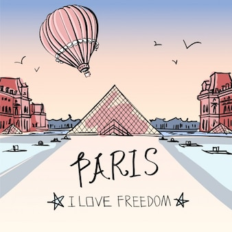 Hand painted paris background