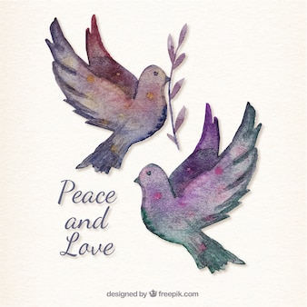 Hand painted peace card with doves