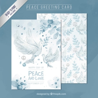 Hand painted peace greeting card