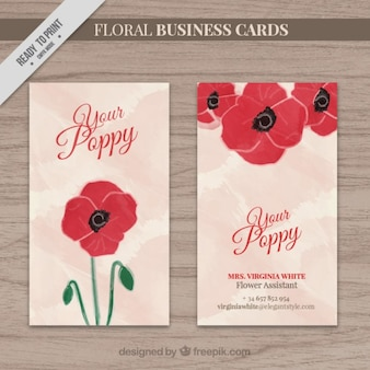 Hand painted poppy business card