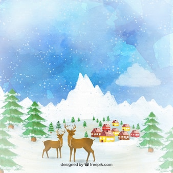 Hand painted reindeers on a village background