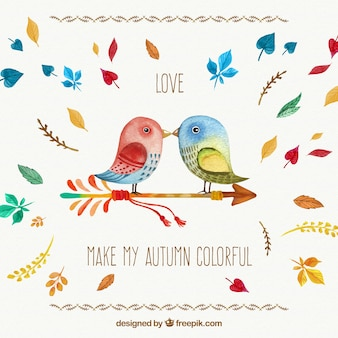 Hand painted romantic autumn card