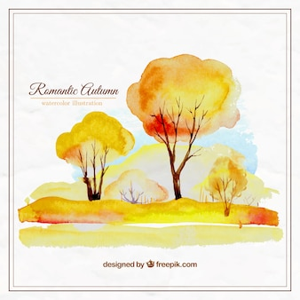 Hand painted romantic autumn