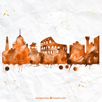 Hand painted Rome skyline