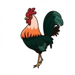 Hand painted rooster design