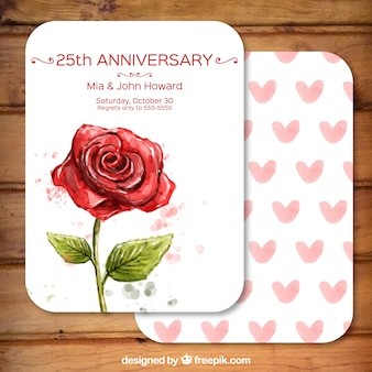 Hand painted rose anniversary card