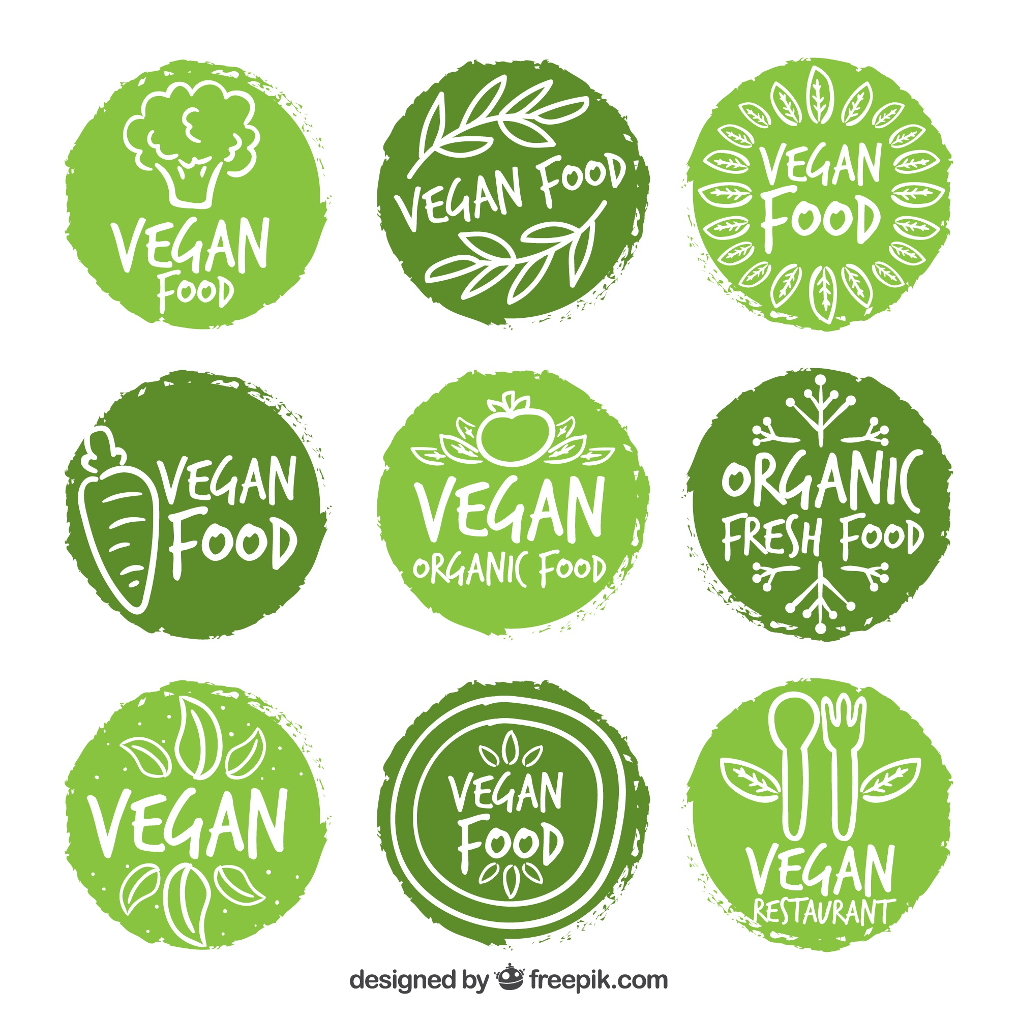 Hand painted rounded vegan food labels