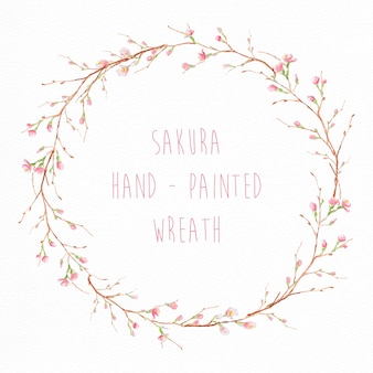 Hand painted sakura wreath
