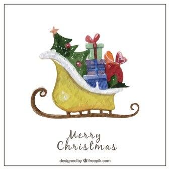 Hand painted santa claus sledge card