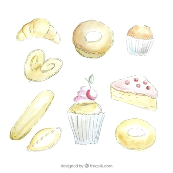 Hand painted sketches bakery products