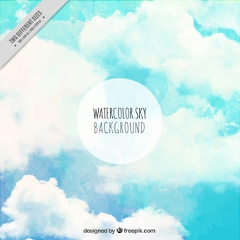 Hand painted sky background with clouds