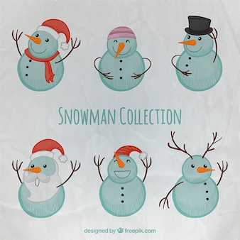 Hand painted snowman collection