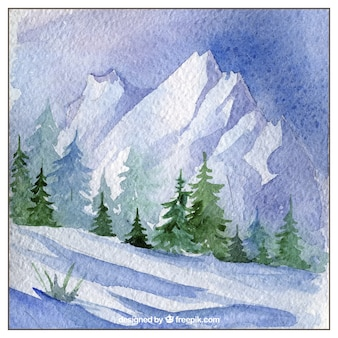 Hand painted snowy landscape