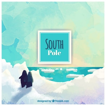 Hand painted south pole backgroun