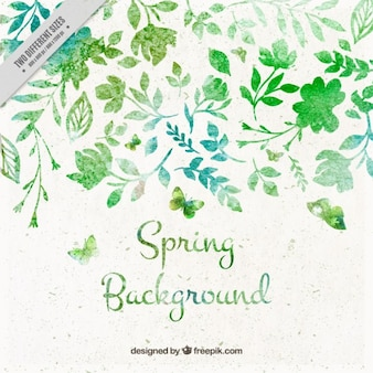 Hand painted spring leaves background