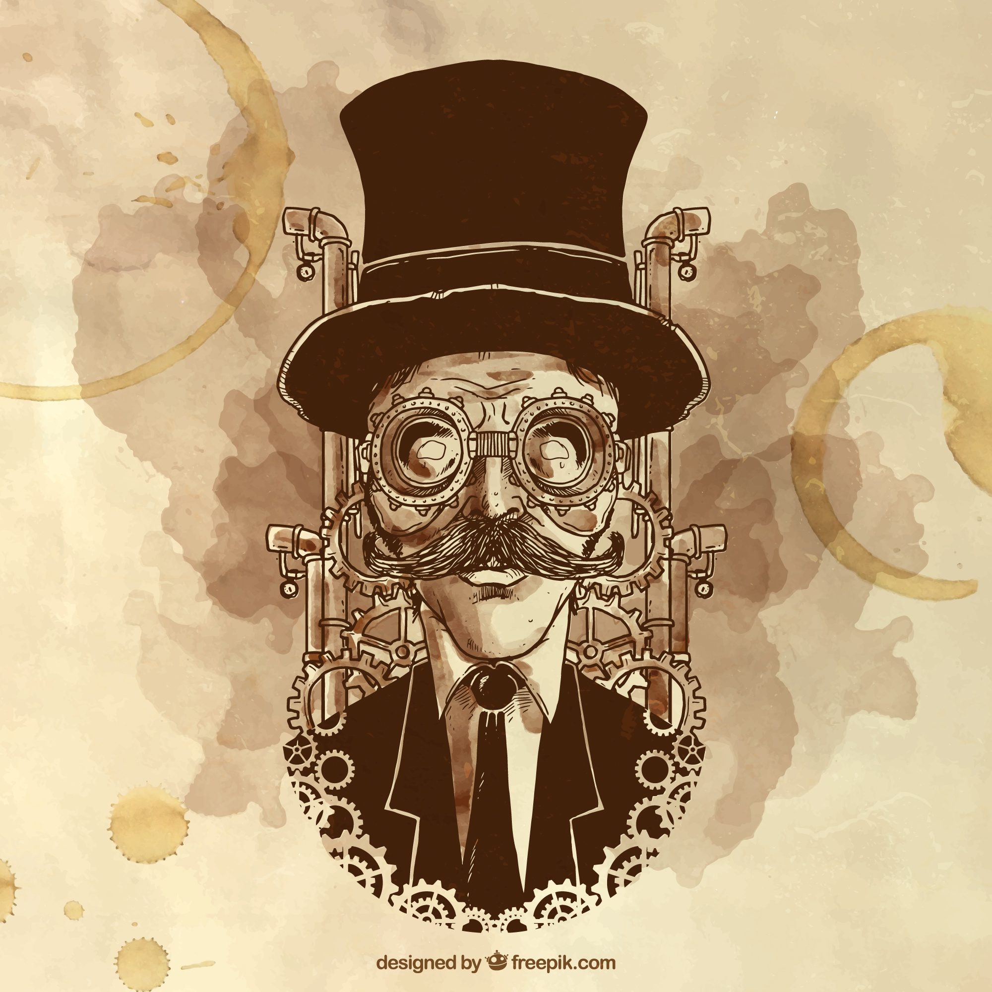 Hand painted steampunk man illustration