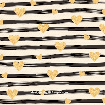 Hand painted stripes and golden hearts pattern