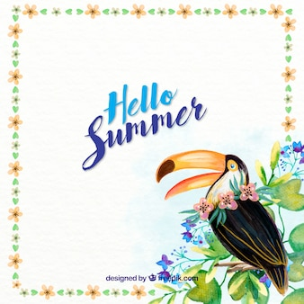 Hand painted summer background with a toucan