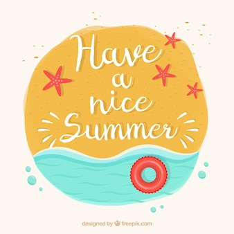 Hand painted summer background with seashore and phrase