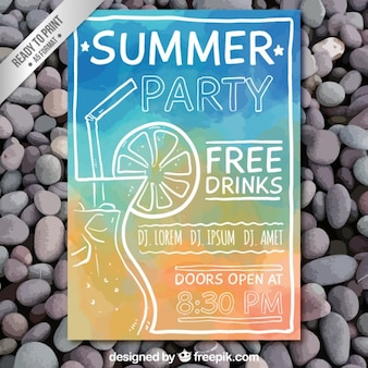 Hand painted summer party poster