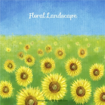 Hand painted sunflowers landscape background