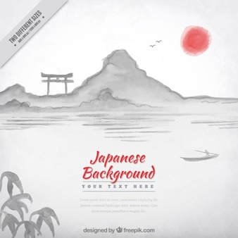 Hand painted sunset japanese background