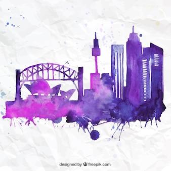 Hand painted Sydney skyline