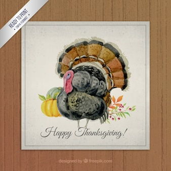 Hand painted thanksgiving turkey card